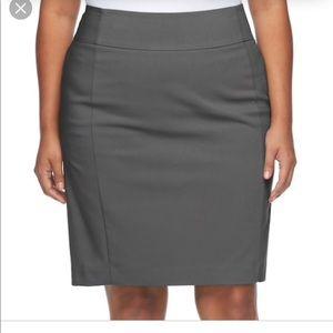 Apt 9  Gray Polished cotton pencil skirt 14